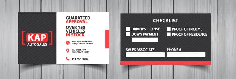 Business Card Design for used cars dealership