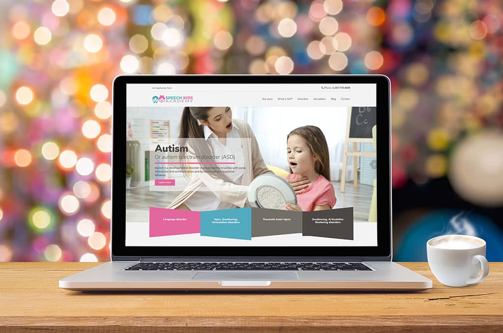 Website Design and Development, Business Card Design and Digital Marketing for Speech Kids Agency in New York